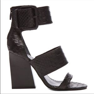 Hottest sandals!! Snake embossed leather sandals!!